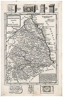 Old Vintage Antique Northumberland map Moll ca. 1724