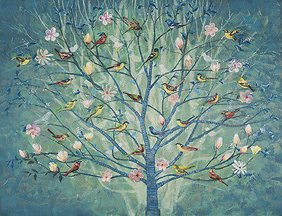 NEW Tree w Bird Large Painting Stretched Canvas Print Wall Art  Home Decor