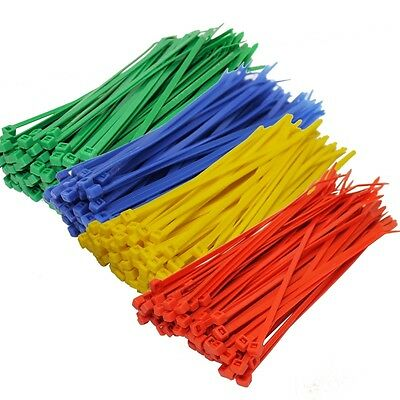 15 Pack Nylon Cable Ties Strong Coloured Plastic Small Large Sizes Zip Tie Wraps