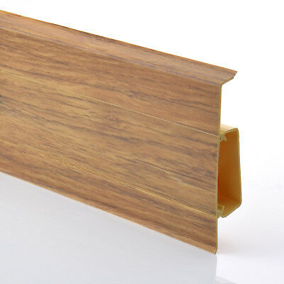 75mm PVC BARONIAL OAK 2.5m SKIRTING BOARD & ACCESSORIES floor wall joint cover