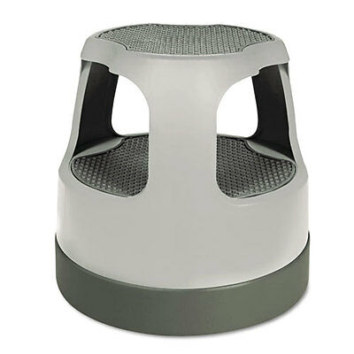 "Scooter Stool, Round, 15"", Step & Lock Wheels, to 300lb, Gray"