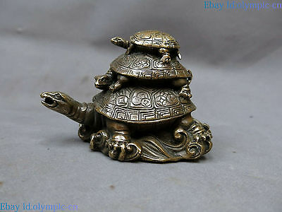 China brass sculpture carved copper Feng Shui longevity three Turtle Statue