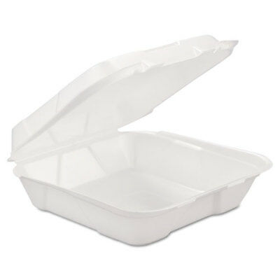 Foam Hinged Carryout Container, 1-Comp, White, 9 1/4 X 9 1/4 X 3, 200/Carton