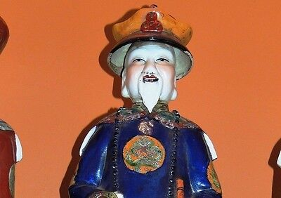 """Antique Chinese Porcelain 22"""" Large Emperor Statue famille rose stamped/marked"""