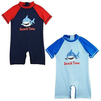 Sweet & Soft Toddler Boys Swimwear Shark Snack Time Rashguard Sunsuit Swimsuit