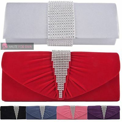 Womens New Ruched Velvet Diamante Detail Chain Wedding Prom Clutch Bag Purse