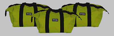 New Ryobi Contractors Canvas Green Wide Mouth Multi purpose Tool Bag Case 3 Pack