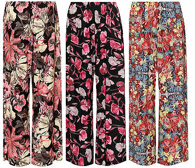 Womens Floral Print Palazzo Trousers Ladies Printed Pants Wide Leg Flared Summer