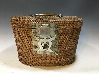 Antique Chinese Rattan/Wicker Basket W/Porcelain Tea Pot And Cup