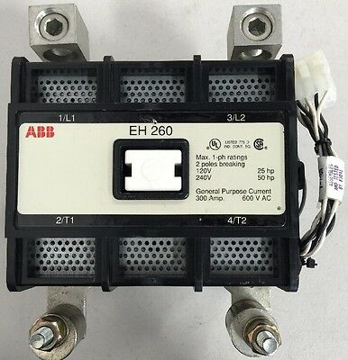 ABB EH 260 Contactor EH260C2P24L 123211012-001 2 Pole 1 Phase 300 Amp 600VAC