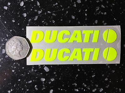 2x Ducati Fluorescent yellow SAFETY Day time Hi-Viz Motorcycle Helmet Sticker