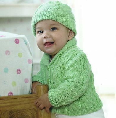 Knitting Pattern for Baby Boys Lovely DK Cable Jacket & Hat Set 0-3 yrs !  (72)