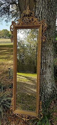 Vintage Ornate French FLORENTINE WOOD GESSO  Pier Wall Mirror