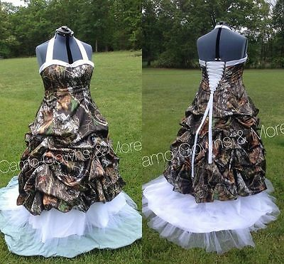 cba7c1f2afd New Ball Gown Camo Wedding Dresses Formal Halter Camouflage Bridal Gowns  Plus Sz