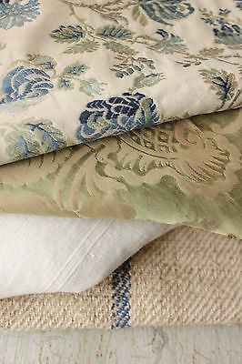 Antique French fabric vintage material PROJECT BUNDLE blue silk green