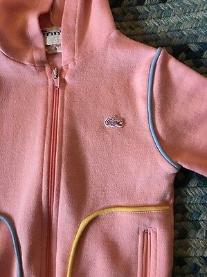 Vintage Lacoste IZOD Pink Girls Hooded Sweatshirt Size 5 See Measurements