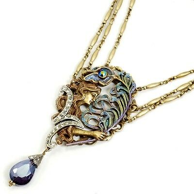 New Sweet Romance Bold Peacock Feather Art Nouveau Necklace ~~Made In Usa~~