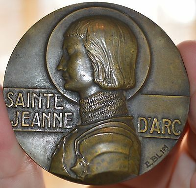 Rare Circa 1915 French Joan Of Arc Medal 58Mm Bronze Medal Wwi.