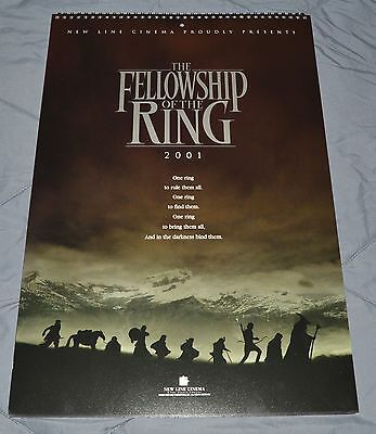 Lord of the Rings LOTR 2001 Promotional Promo Press Calendar