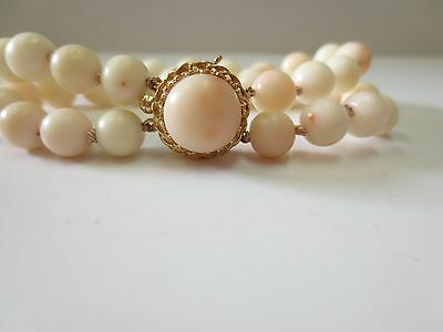 Vtg 14K Y. Gold Clasp Natural Angel Skin Coral Beaded Bracelet /Double Strand