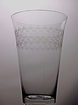 Vintage Large Lovely Etched Pattern Crystal Vase 25Cm Tall X 17Cm Across