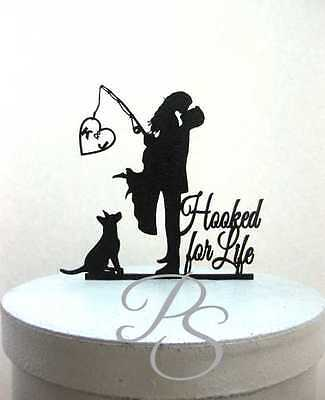 Personalized Wedding Cake Topper - Hooked for life with personalized Initials