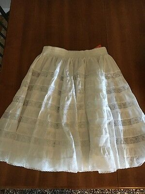 NEW Square Dance White Skirt Size M Square Up Lace Trim Awesome