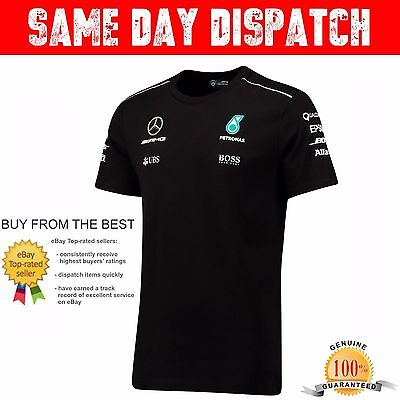 *in Stock* 2017 Mercedes Amg Petronas Team Drivers T Shirt F1 Hugo Boss Black