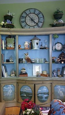 Vintage Two Piece Ornate  Regency Style China Cabinet Breakfront -Beautiful*