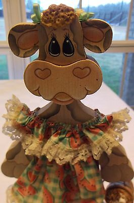 """Country Decor Wooden Vintage Painted Collectable Cow Figurine on base 11 1/4"""""""