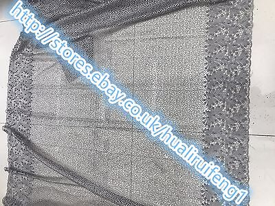 Embroidered Lace Dress Fabric lace gray mesh/beads sequins
