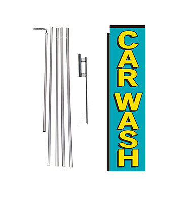 Car Wash teal/yellow 15' Advertising Rectangle Banner Flag w/ pole+spike swooper