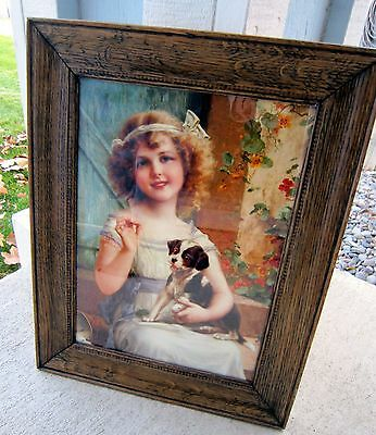Beautiful Print of Victorian Girl w/ Pup in Authentic Antique Oak Frame