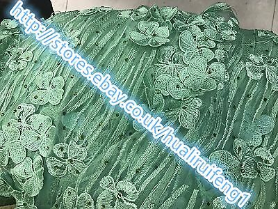Embroidered Lace Dress Fabric lace green mesh/3d handmade