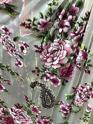 inelastic burnt-out SILK(100%) COLORFUL FLORAL dancing fabric kelly