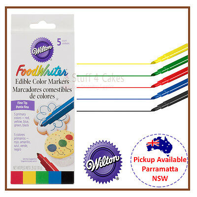 Wilton Food Writer Fine Tip Primary Edible Icing Colour 5 Marker Pens Foodwriter