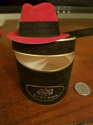 Vintage MINIATURE STETSON RED HAT BOX & HAT SALESMAN SAMPLE PROMO GIFT