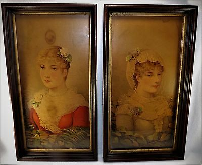 2 Victorian C. 1860 Large Shadow Box Framed Original Prints Ladies in Period Dre
