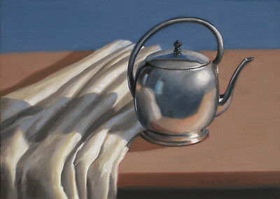 DANFORTH SALE Silver Pot With Linen 5x7 still life realistic oil painting