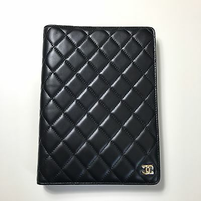 Authentic Chanel CC Lambskin Leather Black Quilted Agenda GM Gold Notebook Cover