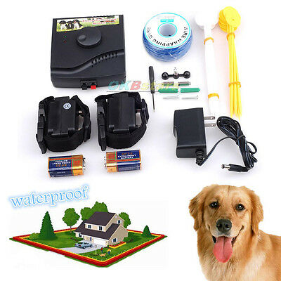 In-Ground Electric Dog Pet Fence 2Wireless Shock Collar Waterproof Hidden System