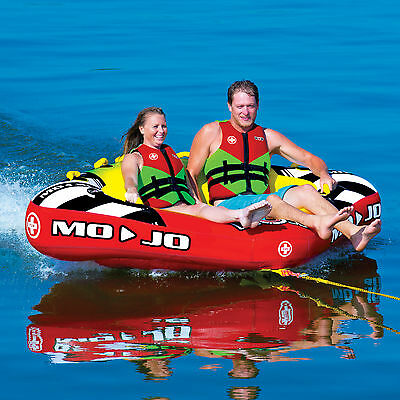 Wow Mojo 3 Person Towable Water Ski Tube Inflatable Biscuit Boat Ride