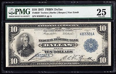 Fr819 $10 1915 Series Frbn -- Dallas -- Pmg 25 Vf (Only 52 Known) Wlm2941