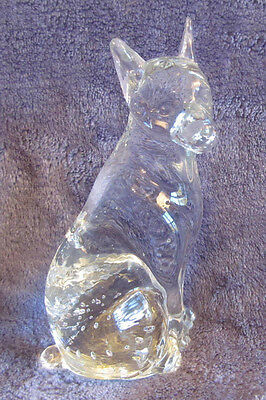 "VINTAGE Heavy Crystal DOBERMAN PINSCHER German Dog Figurine 5"" Sitting GORGEOUS"