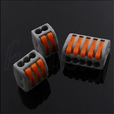 3~50pcs Spring Lever Push Fit Reusable Cable 2 3 5 Way Wire Connector For Wago