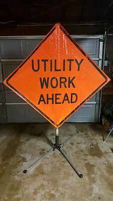 """Utility Work Ahead 65"""" X 65"""" Vinyl Roll Up Sign with Collapsible Stand"""