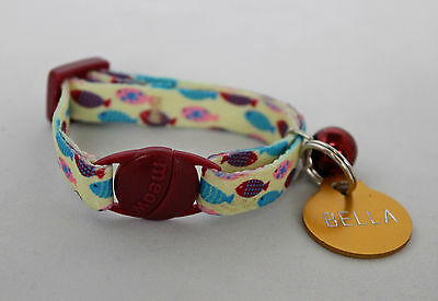 Whisker City (Fashion) Kitten Collar Fish Pattern & Optional Engraved ID Tag