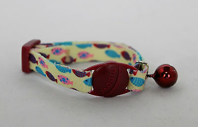 Kitten cat Collar Fish Pattern with bell and safety buckle