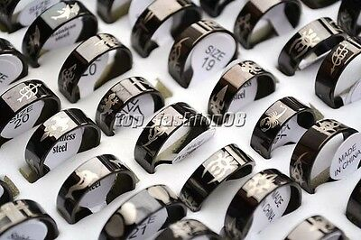 12Pcs Fashion Black Stainless Steel Rings Wholesale Bulk Lots Men's Jewelry