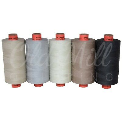 Rasant 120 Sewing Thread 5 x 1000m Spools Colours Neutrals Grey's Craft Quilting